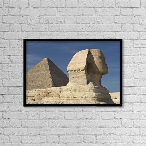 """Printscapes Wall Art: 18"""" x 12"""" Canvas Print With Black Frame - The Sphinx With The Pyramid In Background by Deddeda"""