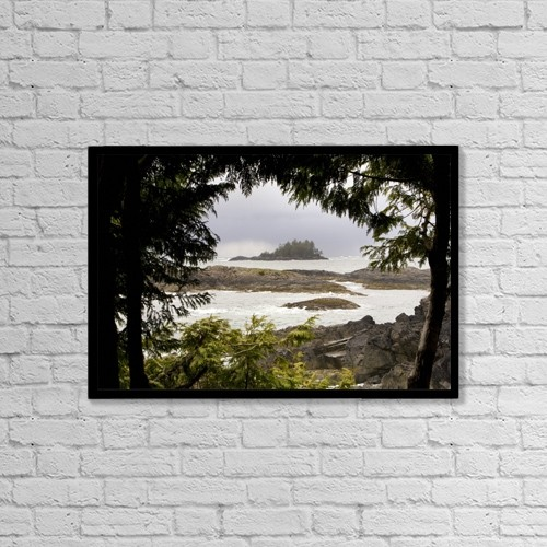 "Printscapes Wall Art: 18"" x 12"" Canvas Print With Black Frame - Coastal Scene, Tofino, British Columbia, Canada by Deddeda"
