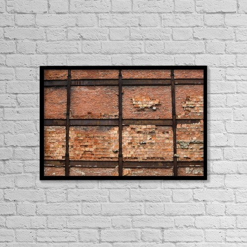 "Printscapes Wall Art: 18"" x 12"" Canvas Print With Black Frame - Montreal, Quebec, Canada; Brick Wall by David Chapman"