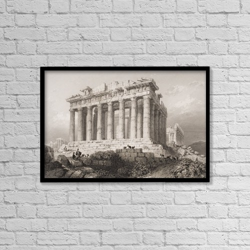 "Printscapes Wall Art: 18"" x 12"" Canvas Print With Black Frame - The Parthenon At Athens, Greece by Ken Welsh"