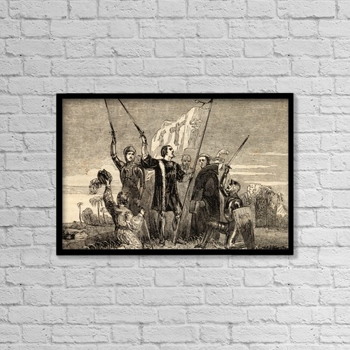 "Printscapes Wall Art: 18"" x 12"" Canvas Print With Black Frame - Columbus Taking Possession by Ken Welsh"