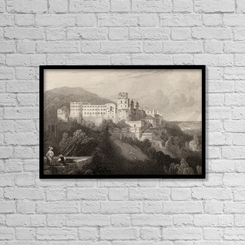 "Printscapes Wall Art: 18"" x 12"" Canvas Print With Black Frame - Heidelberg Castle, Heidelberg, Germany by Ken Welsh"