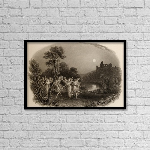 "Printscapes Wall Art: 18"" x 12"" Canvas Print With Black Frame - The Dance Of The Fairies by Ken Welsh"