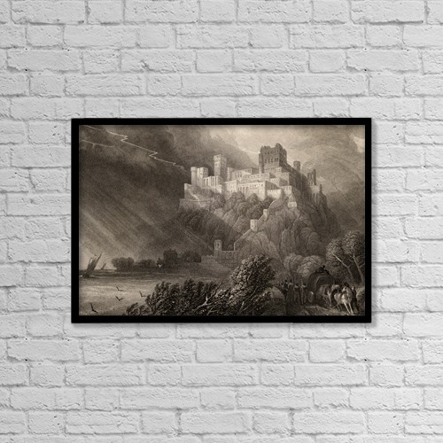 """Printscapes Wall Art: 18"""" x 12"""" Canvas Print With Black Frame - The Ruins Of Rheinfels, Germany by Ken Welsh"""