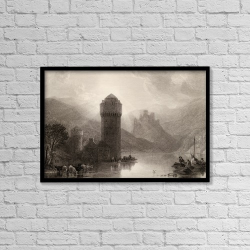 """Printscapes Wall Art: 18"""" x 12"""" Canvas Print With Black Frame - Tower Of Niederlahnstein, Germany by Ken Welsh"""