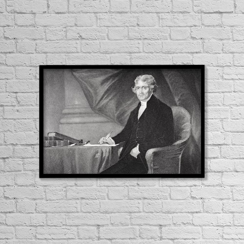"Printscapes Wall Art: 18"" x 12"" Canvas Print With Black Frame - Thomas Jefferson 1743-1826 by Ken Welsh"
