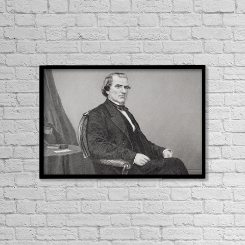 """Printscapes Wall Art: 18"""" x 12"""" Canvas Print With Black Frame - Andrew Johnson 1808 1875 by Ken Welsh"""