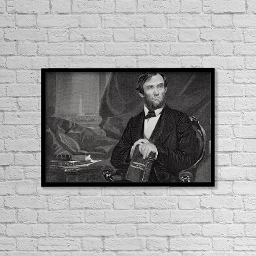 "Printscapes Wall Art: 18"" x 12"" Canvas Print With Black Frame - Abraham Lincoln 1809–65. by Ken Welsh"