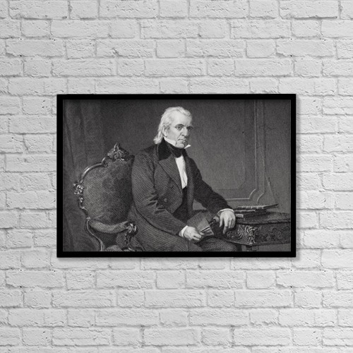 """Printscapes Wall Art: 18"""" x 12"""" Canvas Print With Black Frame - James Knox Polk 1795 To 1849 by Ken Welsh"""