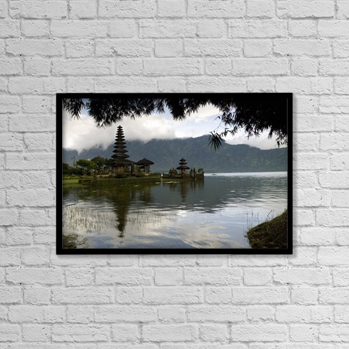 "Printscapes Wall Art: 18"" x 12"" Canvas Print With Black Frame - Ulun Danu Temple On Beratan Lake by Keith Levit"