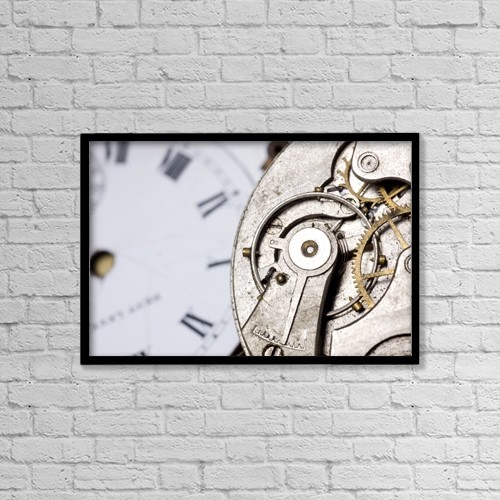 "Printscapes Wall Art: 18"" x 12"" Canvas Print With Black Frame - Close-Up Of Timepiece by John Short"
