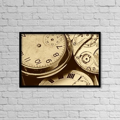 "Printscapes Wall Art: 18"" x 12"" Canvas Print With Black Frame - Timepieces by John Short"