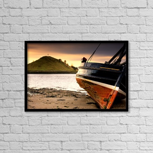 "Printscapes Wall Art: 18"" x 12"" Canvas Print With Black Frame - Boat On Beach At Low Tide by John Short"