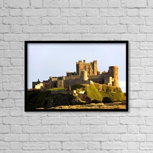 "Printscapes Wall Art: 18"" x 12"" Canvas Print With Black Frame - Bamburgh Castle by John Short"