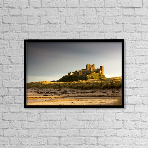 "Printscapes Wall Art: 18"" x 12"" Canvas Print With Black Frame - Bamburgh Castle by John Short"