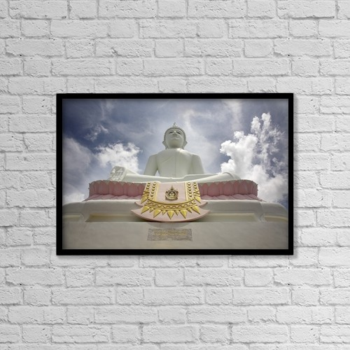 "Printscapes Wall Art: 18"" x 12"" Canvas Print With Black Frame - Low Angle View Of Buddha And Temple by Chris Upton"