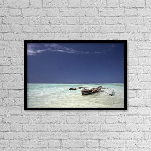 "Printscapes Wall Art: 18"" x 12"" Canvas Print With Black Frame - Zanzibar, Tanzania; Dhow In Shallow Water by Chris Upton"
