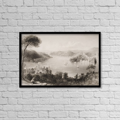 """Printscapes Wall Art: 18"""" x 12"""" Canvas Print With Black Frame - Straits Of The Bosphorous by Ken Welsh"""