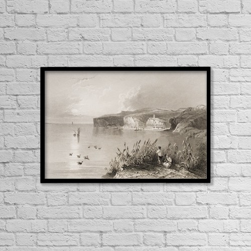 """Printscapes Wall Art: 18"""" x 12"""" Canvas Print With Black Frame - Nicopoli, Greece by Ken Welsh"""