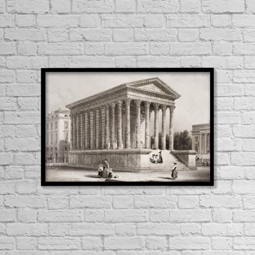 "Printscapes Wall Art: 18"" x 12"" Canvas Print With Black Frame - The Maison Carree, Nismes, France by Ken Welsh"