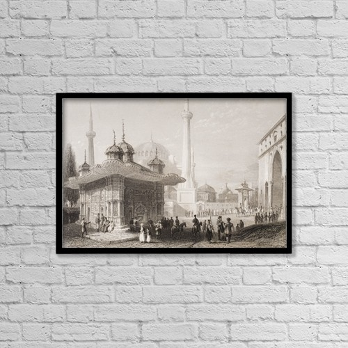 "Printscapes Wall Art: 18"" x 12"" Canvas Print With Black Frame - Fountain And Square Of St by Ken Welsh"