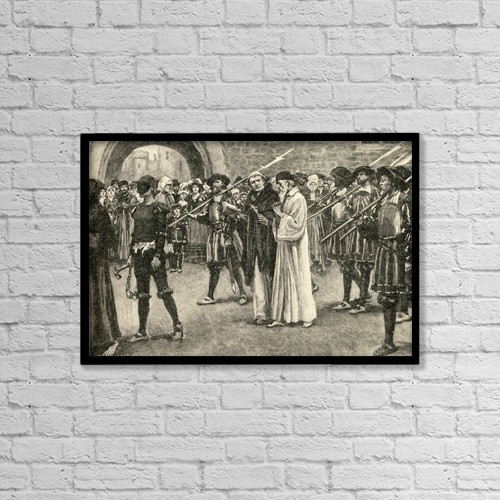 """Printscapes Wall Art: 18"""" x 12"""" Canvas Print With Black Frame - John Frith 1503-1533,Going To Martyrdom by Ken Welsh"""