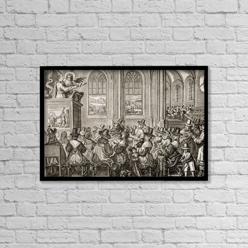 """Printscapes Wall Art: 18"""" x 12"""" Canvas Print With Black Frame - Oliver Cromwell,1599-1658 by Ken Welsh"""