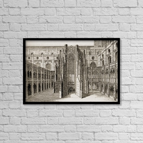 """Printscapes Wall Art: 18"""" x 12"""" Canvas Print With Black Frame - The Chapter House, Old St by Ken Welsh"""