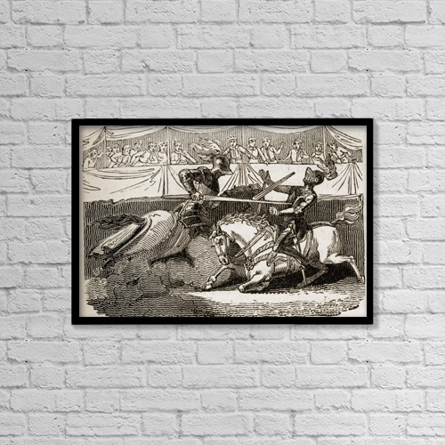 """Printscapes Wall Art: 18"""" x 12"""" Canvas Print With Black Frame - Medieval Tournament by Ken Welsh"""