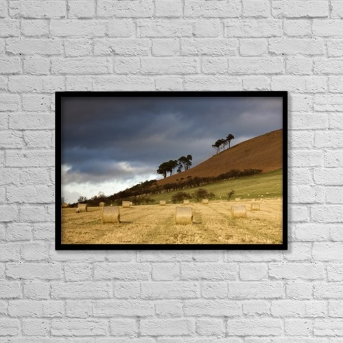 "Printscapes Wall Art: 18"" x 12"" Canvas Print With Black Frame - Hay Bales In A Field, Northumberland, England by John Short"
