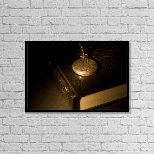 """Printscapes Wall Art: 18"""" x 12"""" Canvas Print With Black Frame - Gold Pocket Watch Resting On A Book by Philippe Widling"""