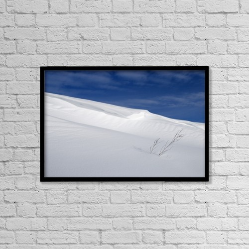"Printscapes Wall Art: 18"" x 12"" Canvas Print With Black Frame - Snow Covered Slope With Blue Sky by Philippe Widling"