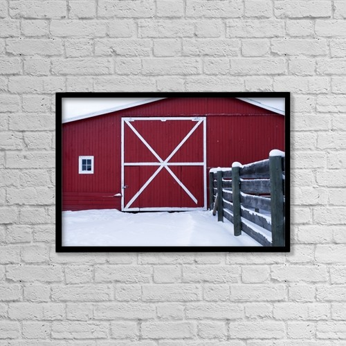 "Printscapes Wall Art: 18"" x 12"" Canvas Print With Black Frame - Red Barn With Snow by Philippe Widling"
