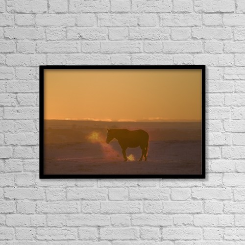 "Printscapes Wall Art: 18"" x 12"" Canvas Print With Black Frame - Alberta, Canada; Horse At Sunset by Philippe Widling"