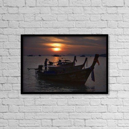 "Printscapes Wall Art: 18"" x 12"" Canvas Print With Black Frame - Boats At Sunset, Krabi, Thailand by Matt Brandon"