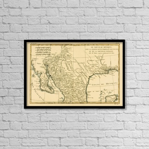 "Printscapes Wall Art: 18"" x 12"" Canvas Print With Black Frame - Map Of New Mexico, Circa by Ken Welsh"