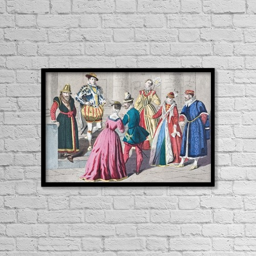 """Printscapes Wall Art: 18"""" x 12"""" Canvas Print With Black Frame - English Costumes From The Mid 16Th Century by Ken Welsh"""