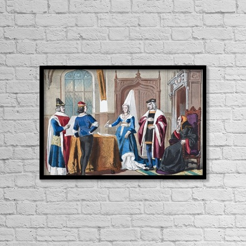 "Printscapes Wall Art: 18"" x 12"" Canvas Print With Black Frame - English Costumes From Late Fifteenth Century by Ken Welsh"