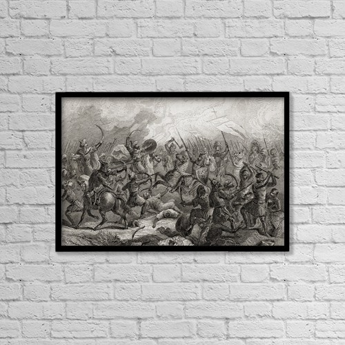 "Printscapes Wall Art: 18"" x 12"" Canvas Print With Black Frame - Battle Of Guadalete, Spain In 711 by Ken Welsh"