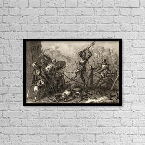 """Printscapes Wall Art: 18"""" x 12"""" Canvas Print With Black Frame - Battle Of Las Navas De Tolosa, Jaen,Spain. 1212 by Ken Welsh"""