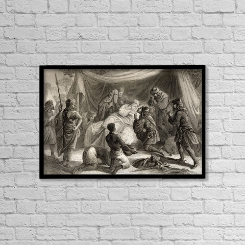 "Printscapes Wall Art: 18"" x 12"" Canvas Print With Black Frame - Death Of Almanzor In 1002 by Ken Welsh"