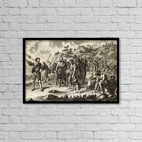 """Printscapes Wall Art: 18"""" x 12"""" Canvas Print With Black Frame - Expulsion Of The Moors In Spain, 1610 by Ken Welsh"""