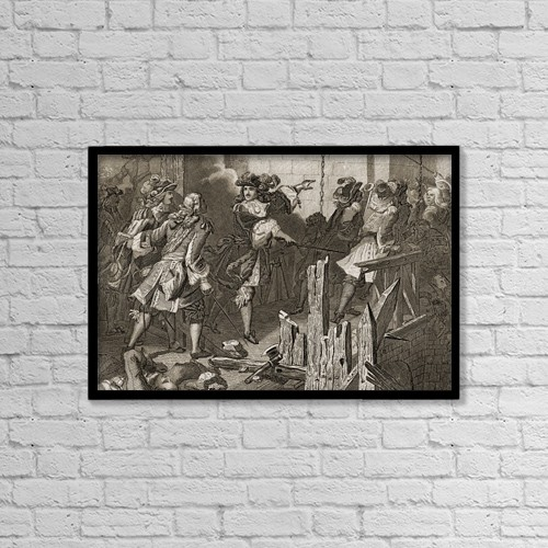 """Printscapes Wall Art: 18"""" x 12"""" Canvas Print With Black Frame - Felipe V Conquists Luzara, 1701 by Ken Welsh"""