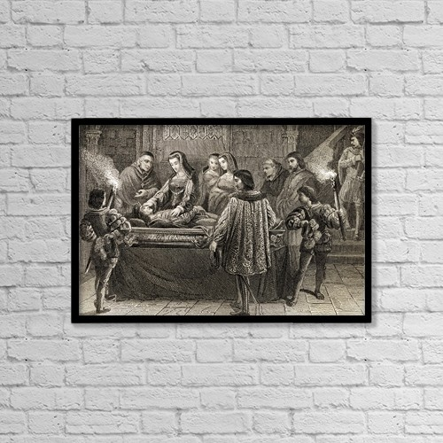 "Printscapes Wall Art: 18"" x 12"" Canvas Print With Black Frame - Juana La Loca And Felipe El Hermoso, 1478-1506 by Ken Welsh"
