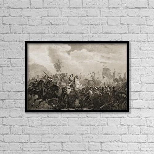 "Printscapes Wall Art: 18"" x 12"" Canvas Print With Black Frame - The Battle Of Monjuich,Spain. 1706 by Ken Welsh"