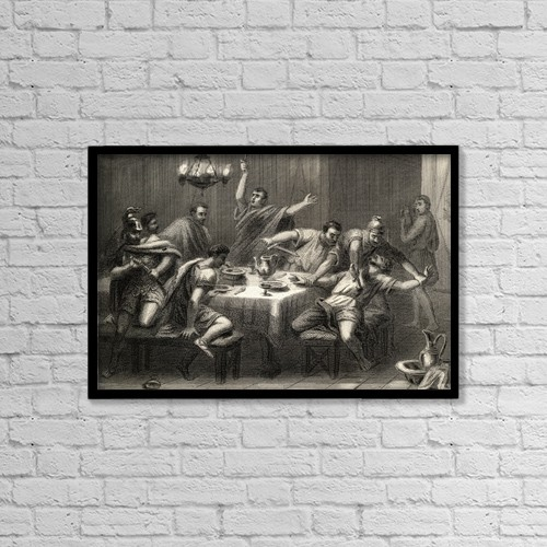 """Printscapes Wall Art: 18"""" x 12"""" Canvas Print With Black Frame - The Conspirators Kill Sertorio by Ken Welsh"""