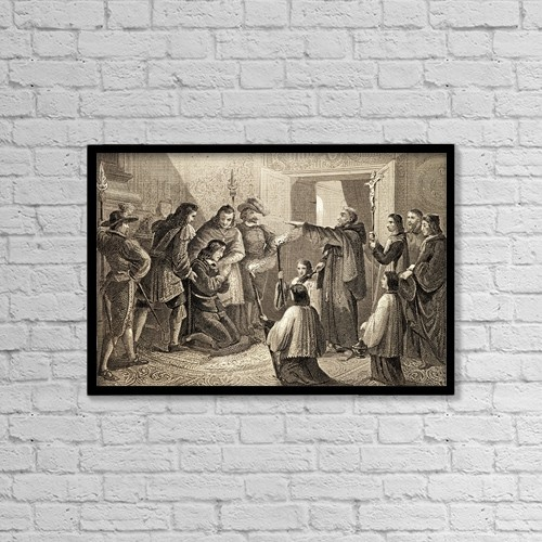 "Printscapes Wall Art: 18"" x 12"" Canvas Print With Black Frame - The Exorcism Of Carlos Ii Of Spain, 1661-1700 by Ken Welsh"
