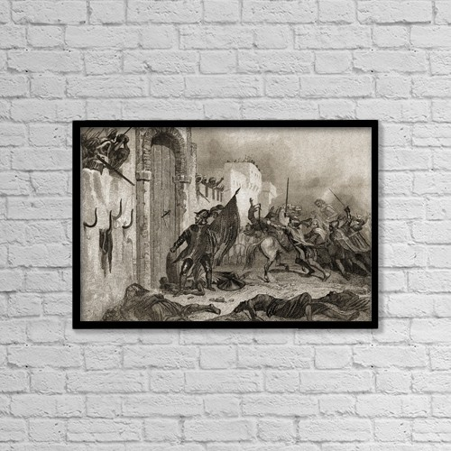 """Printscapes Wall Art: 18"""" x 12"""" Canvas Print With Black Frame - The Spaniards In Africa by Ken Welsh"""