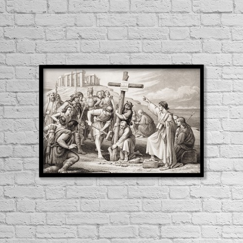 "Printscapes Wall Art: 18"" x 12"" Canvas Print With Black Frame - The First Preaching Of Christianity In Britain by Ken Welsh"
