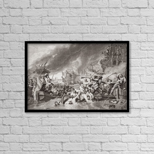 "Printscapes Wall Art: 18"" x 12"" Canvas Print With Black Frame - The Battle Of La Hogue by Ken Welsh"